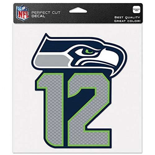 (WinCraft NFL Seattle Seahawks 98517017 Perfect Cut Color Decal, 8 x 8 Inches, Black)