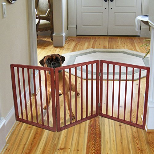 Price comparison product image Freestanding Folding Wood Pet Animal Safety Gate Fence Pen Doorway Hall Stairs