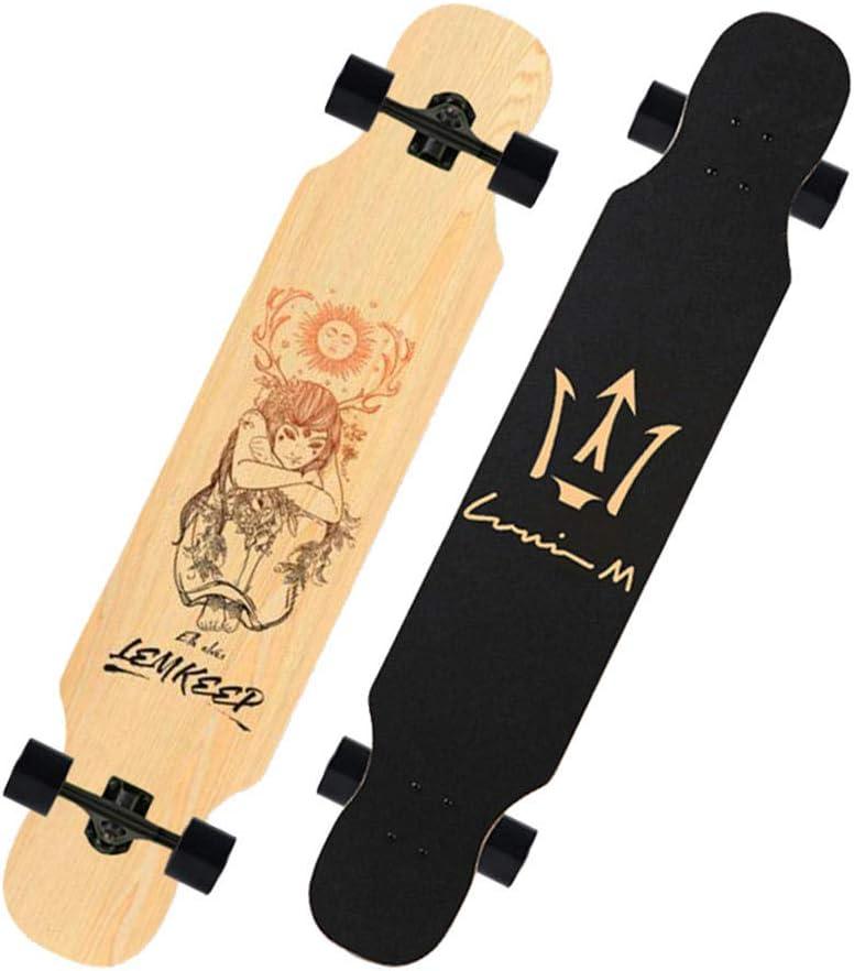 42 inch Cruiser Longboard Skateboard Complete Maple Downhill cruising dancing Standard skateboard for Adults Kids Boys Youths Beginners-#1