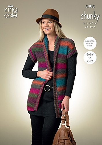 King Cole Ladies Cardigan & Waistcoat Riot Chunky Knitting Pattern 3483 by King Cole by King Cole