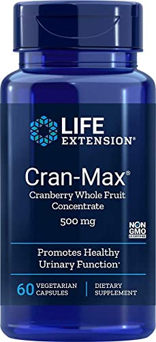 Life Extension Cran-Max 500 Mg, 60 Vegetarian Capsules package may vary