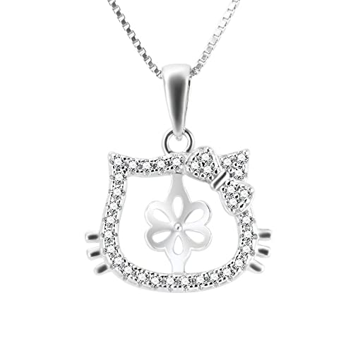 4e9075bc7 Image Unavailable. Image not available for. Color: LGSY Hello Kitty 925  Sterling Silver Cubic Zircon Pendant ...