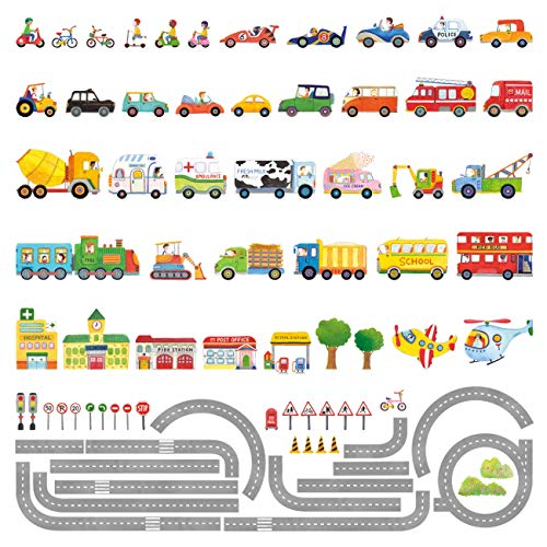 Great Planes Decal Set (Decowall DAT-1404P1405 The Road and Transports Kids Wall Decals Wall Stickers Peel and Stick Removable Wall Stickers for Kids Nursery Bedroom Living Room)