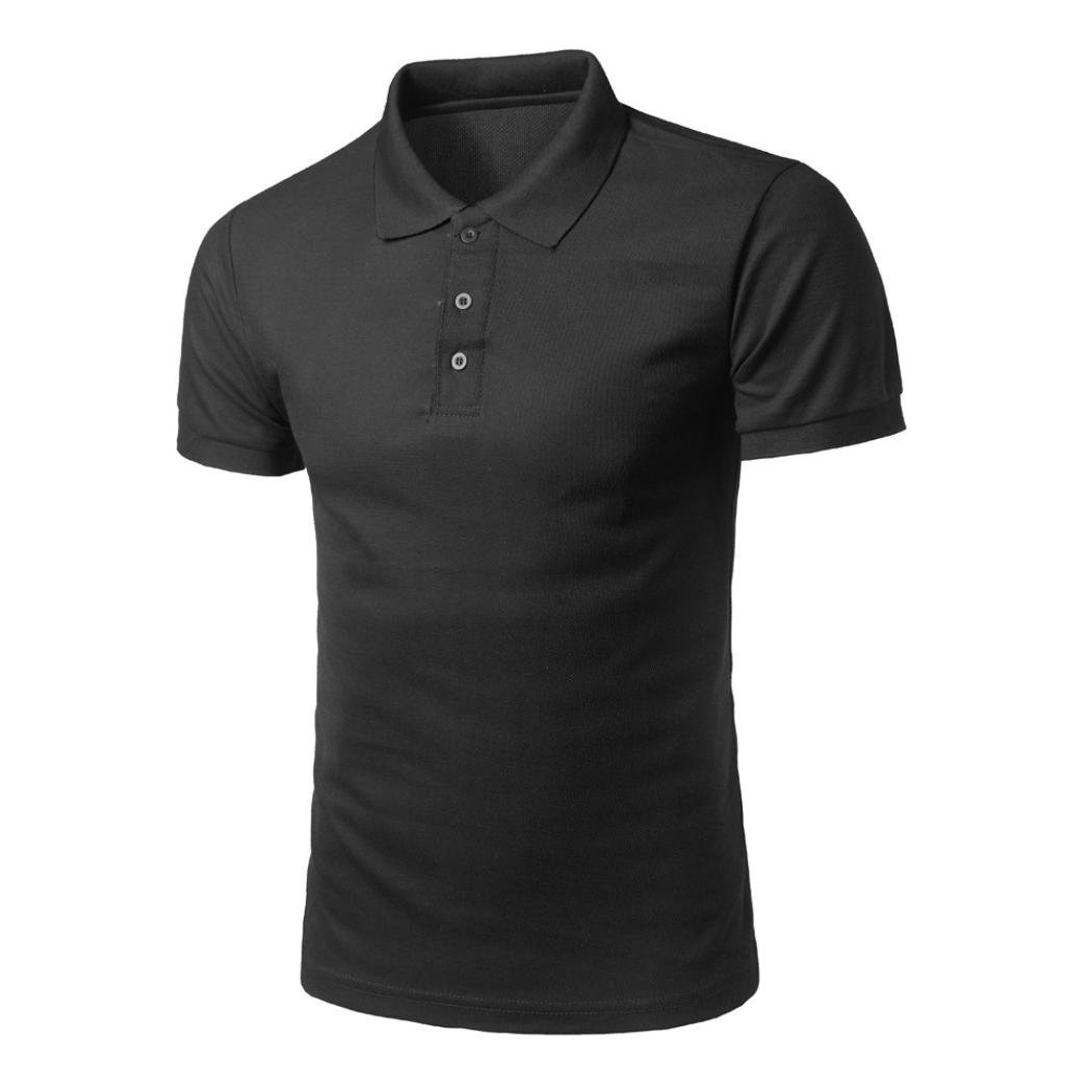 Easytoy Mens Summer Basic Solid Polo Shirt Boys Casual Essential All Match Tops