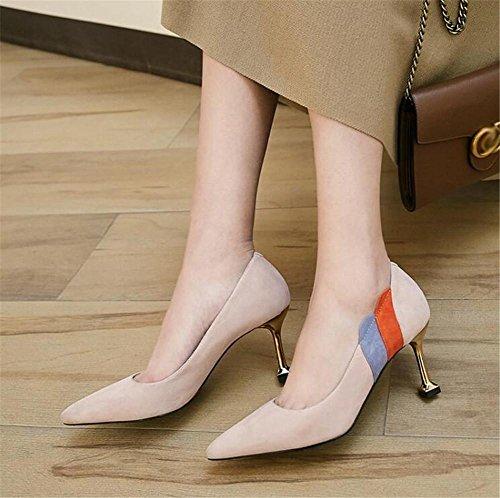 Damenschuhe Echtes Wildleder Metall Stiletto-Absatz Kleid Büro Party Pumpengröße 35 bis 39 beige