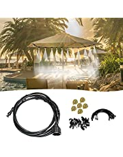 Decdeal 50FT Misting Cooling System Outdoor Misting Line Cooling Watering Sprayer Kit DIY Saving Water Misting Equipment Set for Garden Greenhouse Flower Patio Lawn