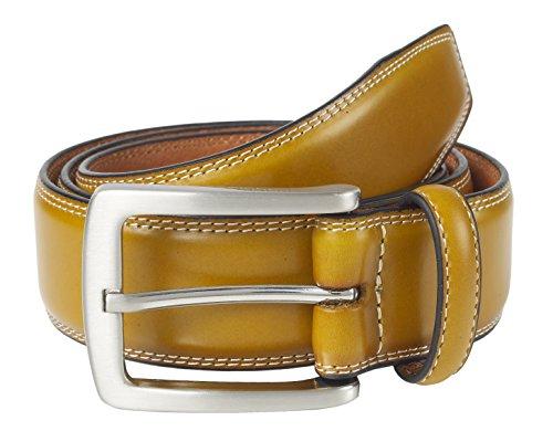 Sportoli Mens Genuine Leather Classic Stitched Casual Belt - Tan (Size 34)