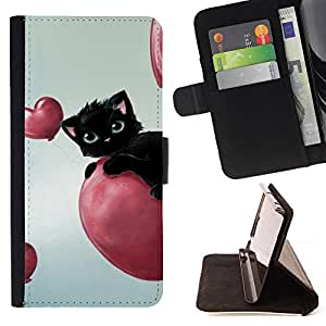 DEVIL CASE - FOR Apple Iphone 6 - Cat Pink Hearts Balloon Black Blue Eyes - Style PU Leather Case Wallet Flip Stand Flap Closure Cover