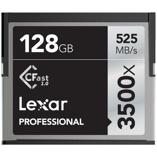 Lexar 128GB Professional 3500x CFast 2.0 Memory Card for 4K Video Cameras, Up to 525MB/s Read, Up to 445MB/s Write Speed by Lexar