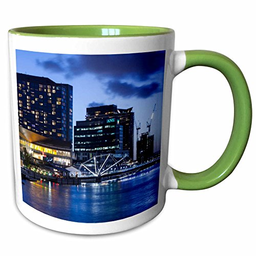 3dRose Danita Delimont - Australia - Australia, Melbourne, South Wharf, Bridge over the Yarra River, dusk - 11oz Two-Tone Green Mug - Melbourne Wharf