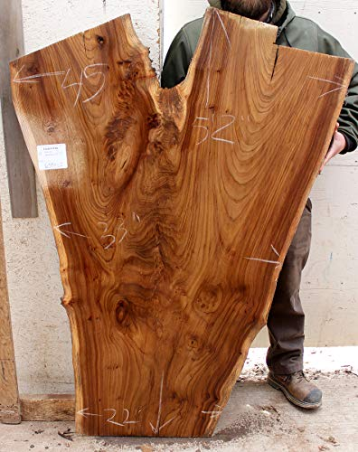 Live Edge Coffee Table Natural Wood Slab Kitchen Tabletop Wide Custom Rustic Wooden Island Counter English Elm DIY Raw Unfinished 6393s2