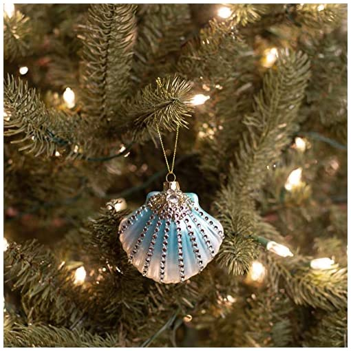 Beach Themed Christmas Ornaments Midwest Seasons Clam Shell Decorated with Rhinestones Beach Coastal Ocean Christmas Tree Ornament beach themed christmas ornaments