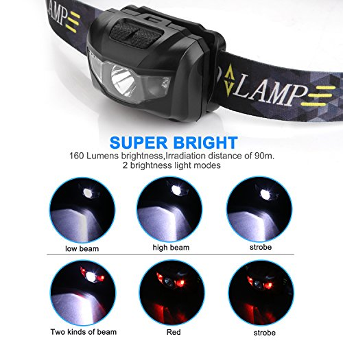 CREE LED Headlamp Flashlight, STCT Red Light Headlamp, Waterproof Head Lights Led for Kids and Adults Camping, Hunting, Running, Reading, 3 AAA batteries included (black)