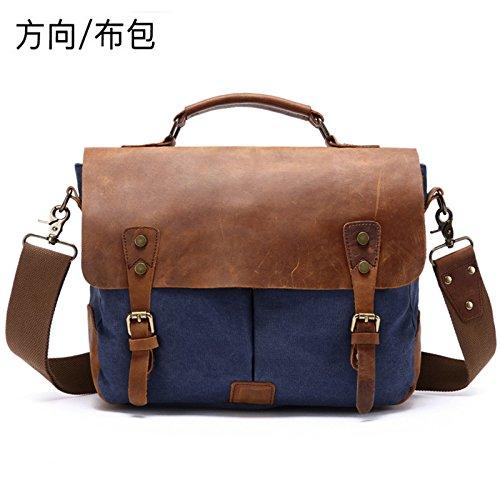 Bolso Messenger One-Shoulder_Directory Bolsa de tela lienzo portátil hombro Vintage 35cm*11cm*28cm, azul real