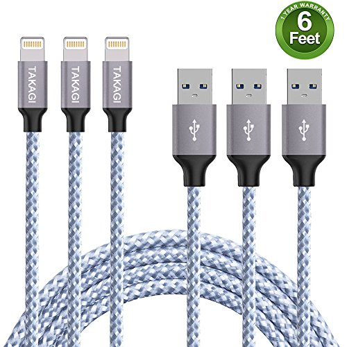 TAKAGI Lightning Cable, iPhone Cable Nylon Braided Lightning