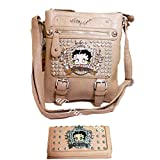 Betty Boop Black Crown Cross-body L Wallet Messenger Dual Bags Set Rhinestone