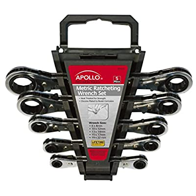 Apollo Tools DT1213 Metric 5-Piece Ratcheting Wrench Set