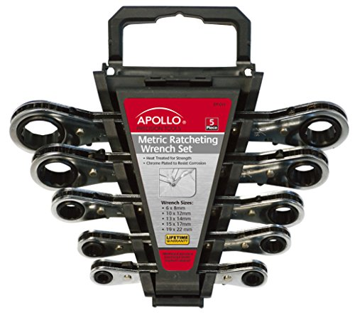 5 Piece Combination Ratcheting Wrench - Apollo Tools DT1213 Metric 5-Piece Ratcheting Wrench Set