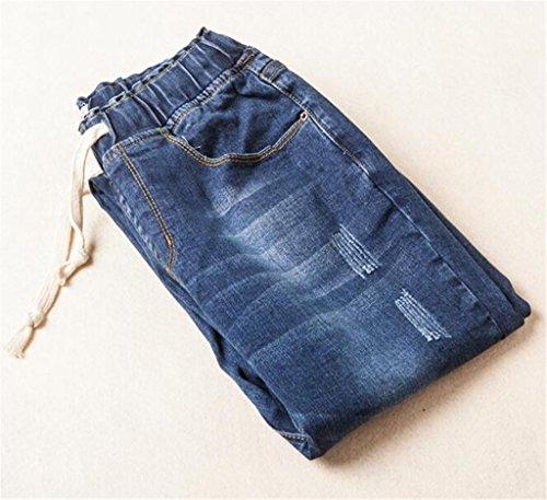 Wgwioo Taille Élastique Couleur Unie Casual Denim Profonde Pantalon Jeans Féminin Slim Poche Classique Premium Confort Pulpeuse