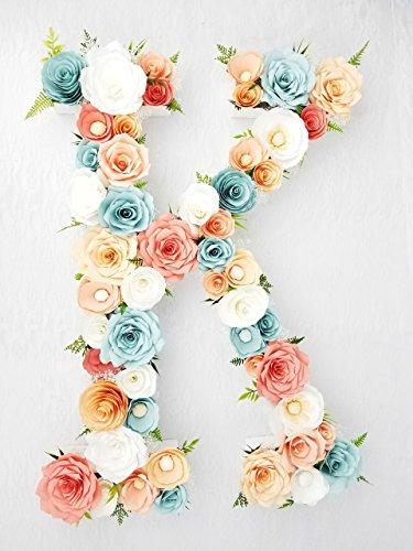 Peach, coral & aqua paper flower letter by Centertwine Paper flowers & Bouquets