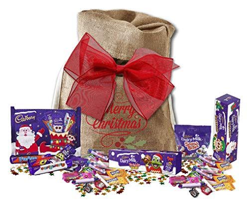 (Cadbury's Christmas Selection with Retro Candy in Santa's Sack | British Christmas Candy | Cadbury Snow Bites Freddo Faces Buttons)