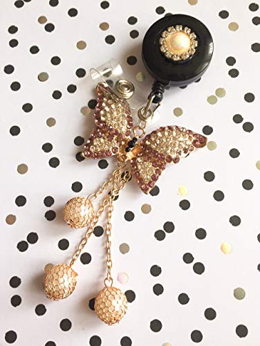 Bling Rhinestone Purple Butterfly With A Pearl Heart Decorated Retractable Badge Reel ID Holder with Belt Clip Backing