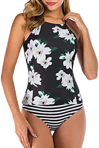 Women Swimming Tankini Padded Swimsuit Beachwear Monokini Push Up Bikini Sets Swimwear YOcheerful Womens Tankini Set