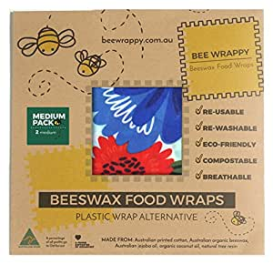 Beeswax Food Wraps 2 x Medium Pack By Bee Wrappy Washable And Reusable Alternative To Single Use Plastic Wrap/Saran Wrap. Reusable Sandwich Wrap For Reusable Lunchboxes. Container And Cover For Food. Australian Made. Contains 2 Medium (30cm X 25cm)