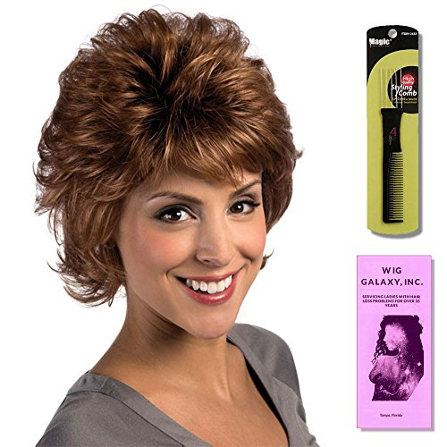 Shelby by Estetica, Wig Galaxy Hair Loss Booklet & Magic Wig Styling Comb/Metal Pick Combo (Bundle - 3 Items), Color Chosen: RH268