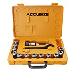 AccusizeTools - 12 Pcs/Set ER32 Collet + R8 Bridgeport Shank + Wrench in Fitted Box, #0223-0974