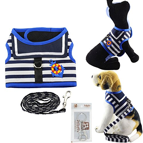 Bolbove Pet Navy Striped Vest Mesh Sailor Harness and Leash Set for Cats & Small Dogs (Medium, Blue) (Striped Sailor Costumes)