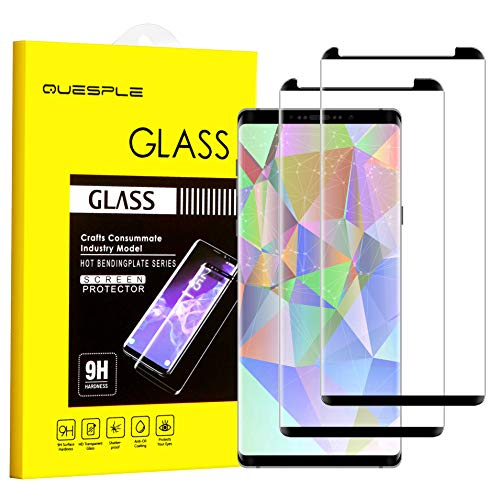 QUESPLE Galaxy Note 8 Screen Protector, [2-Pack][Case Friendly][Anti Scratch][Anti-Bubble] 3D Cured Premium Tempered Glass Screen Protector Compatible with Samsung Galaxy Note 8