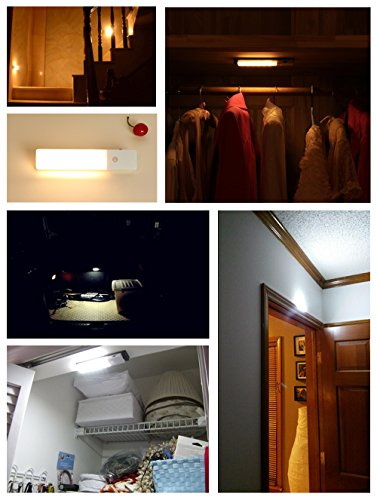 ZEEFO 2 Pack LED Night Light, Motion Sensor Lights Rechargeable Built-in Lithium Battery Powered Wall Sconce Light, Lighting Closet Cabinet Bathroom Stairway Hallway Light for Baby kids nursery Lamp