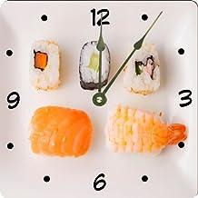 "Rikki Knight Seafood Sushi Plate Design 13"" Art Wall Clock"