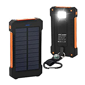 Ecandy 10000mAh Solar Power Bank Dual USB Port ,Rainproof Dustproof Shockproof Solar Charger with LED Lighting and SOS Function for iPhone Samsung Galaxy S6, S6, Edge S5, S4, S3 Cellphone Tablet