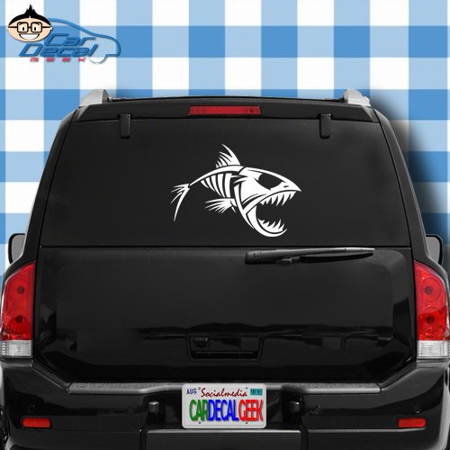 (Car Decal Geek Fish Skeleton Vinyl Decal Sticker Bumper Cling for Car Truck Window Laptop MacBook Wall Cooler Tumbler | Die-Cut/No Background | Multi Sizes/Colors Red, 20
