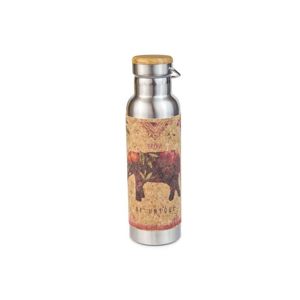 Yoloha絶縁ステンレススチールとコルク水ボトル、20オンス B07DFT2F9V Lucky Elephant