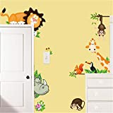 lovely lion wall decals TraveT Lovely Giraffe Monkey Lion Zoo Wall Decal Kids Home Living Room House Bedroom Bathroom Kitchen Office Wall Stickers