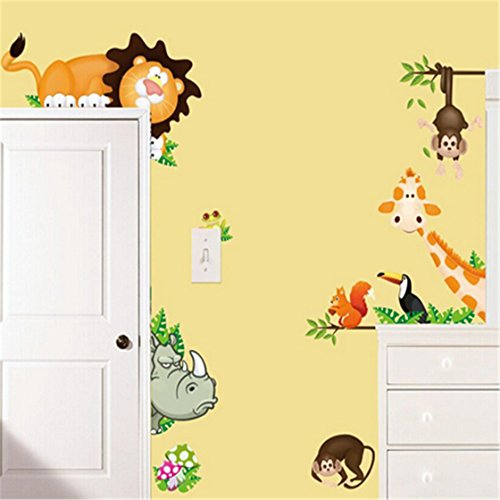 TraveT Lovely Giraffe Monkey Lion Zoo Wall Decal Kids Home Living Room House Bedroom Bathroom Kitchen Office Wall Stickers