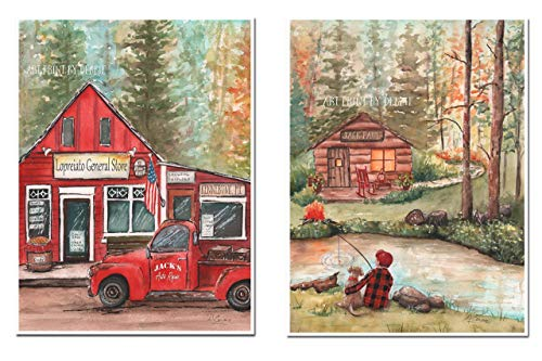 Personalized boys bedroom rustic cabin decor Set of 2 Vintage red pickup truck and fishing PRINT or CANVAS Custom name place company Wall art Gift for him, 5x7 to 24x36