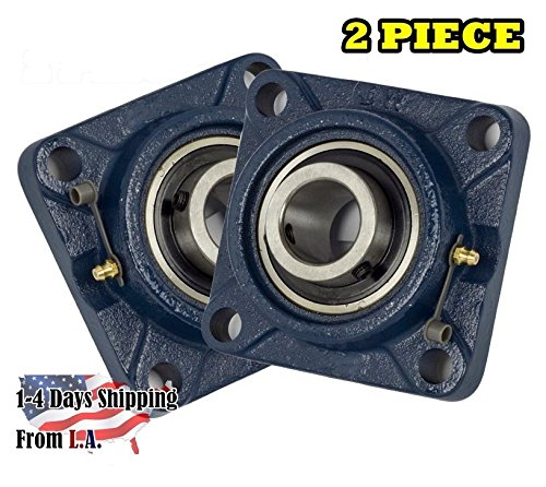 (2 Piece- UCF201-8 Pillow Block Bearing 1/2 inch Size Bore, 4-Bolt Flange, Solid Base, Self-Alignment)