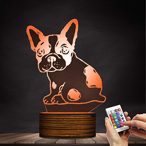 Novelty Lamp, Optical Illusion 3D LED Lamp Night Light French Bulldog, USB Powered Remote Control Changes The Color of The Light, Bedroom Table Lamp, Children's Gift, Home Decoration,Ambient Light by LIX-XYD (Image #2)