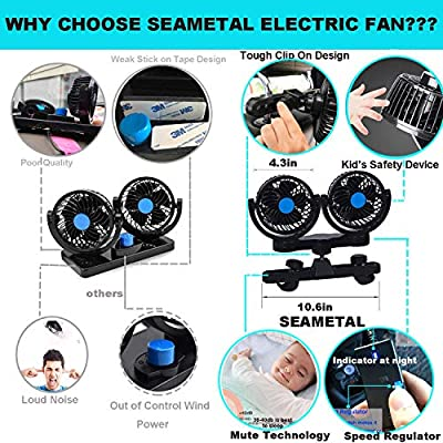 Car Fan for Back Seat, Car Seat Fan Cigarette Lighter, Fan for Car 12V Headrest Black 4inches: Kitchen & Dining