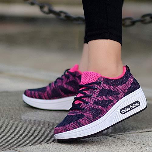 Tefamore Zapatillas Calzado Negro Ligero Para Cómodos Deportivo De Cuña Calzo Plataforma Aptitud Mujer Sneaker Zapatos Exterior xqH0XrSxw