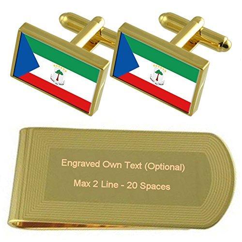 Equatorial Guinea Flag Gold-tone Cufflinks Money Clip Engraved Gift Set