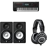 Yamaha Montage6 Synthesizer Workstation with Yamaha HS5 Powered Studio Monitor, Pair and M50x Professional Monitor Headphones, Black