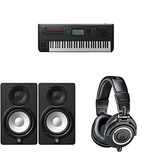 Yamaha Montage6 Synthesizer Workstation with Yamaha HS5 Powered Studio Monitor, Pair and M50x Professional Monitor Headphones, Black by Yamaha