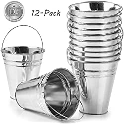 "Kidsco 12-Pack Large Galvanized Metal Buckets With Handle 5"" X 4 1/2 - Unique Goody Baskets, Great For Party Favors, Party Accessories And Decoration - By"