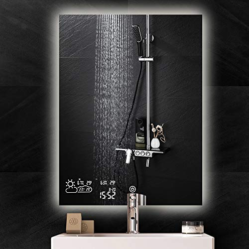 BYECOLD Vertical Vanity Touch Switch Bathroom Mirror Weather Forecast, LED Illuminate Back - With Clock Bathroom Vanity And Lights Mirrors