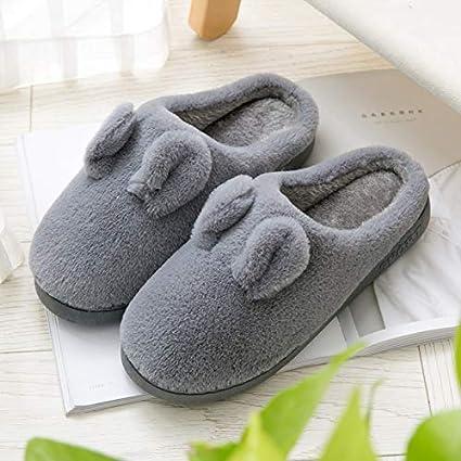 YHUJH Home otoño e Invierno, imitación de Pelo de Conejo, Zapatillas de algodón para
